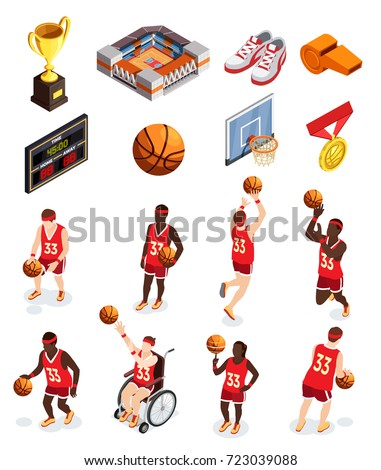 Basketball isometric icons collection of isolated human characters of players equipment items and awards with shadows vector illustration
