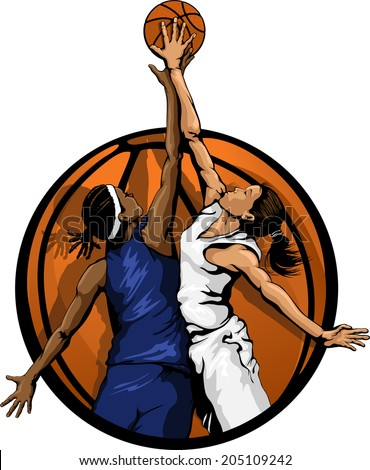 Basketball jump ball featuring two girls in a basketball background.