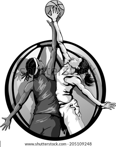 Basketball jump ball featuring two girls in a basketball background, gray scale version.