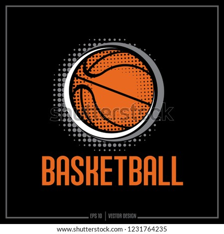 Basketball Logo Design, Basketball with half tone pattern, Basketball ball, Basketball team logo
