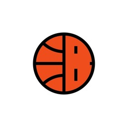 Basketball logo icon sign Ball letter b symbol Sport team league club community emblem Modern creative children's design Fashion print clothes apparel greeting invitation card banner poster badge ad