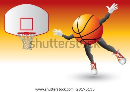 basketball man flying into goal