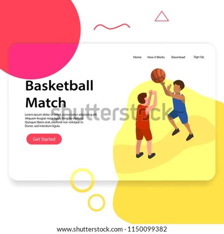 Basketball Match Landing Page Illustration - Shutterstock ID 1150099382