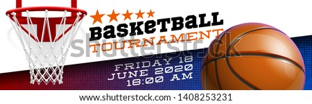 Basketball modern sports poster design banner with 3d realistic shiny ball. Basketball tournament Illustration banner logo realistic orange ball. posters design flyer set Playoff championship template
