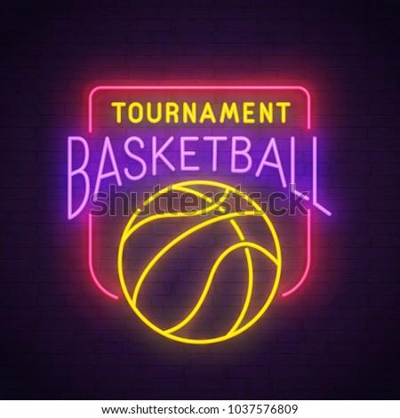 Basketball neon sign, bright signboard, light banner. Basketball logo, emblem. Vector illustration