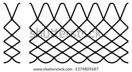 Basketball net texture. Seamless vector pattern. Net improves the seeming of throwing the ball through the basket ring.  Black sport texture isolated on white background. Basketball design element.