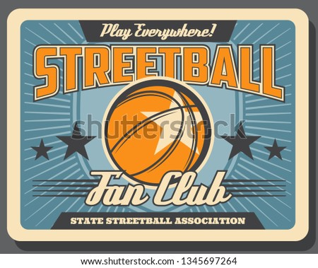 Basketball or streetball sport, leather heavy ball. Vector sporting item, competition or championship, state league association. Game or match, activity and pastime, sportsmen community