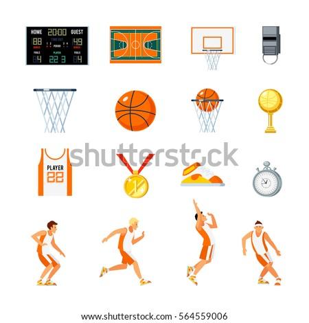 basketball orthogonal icons set