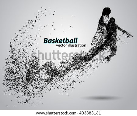 basketball particles text and