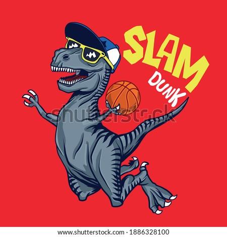 Basketball player dinosaur character design.Cool dinosaur vector print.Fun t-shirt design.
