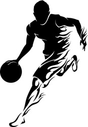 Basketball Player Flame-Flaming trail of basketball athlete silhouette