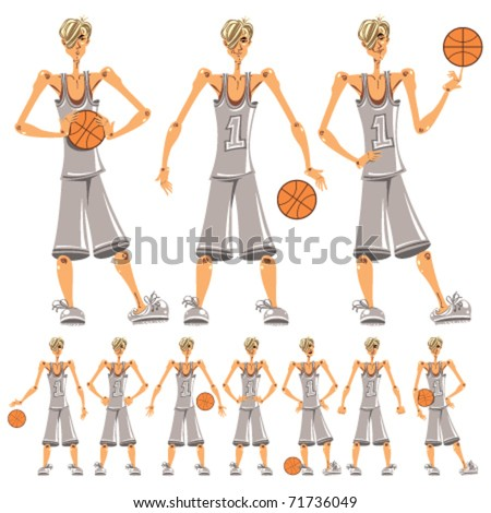 Basketball player illustrations set.