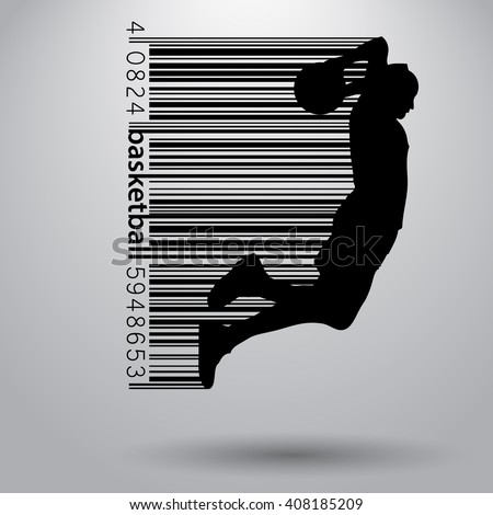 basketball player in a barcode