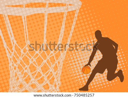 basketball player on the abstract background - vector