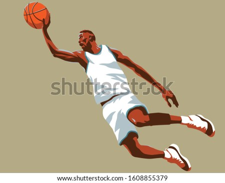 Basketball player who throws the ball in a jump