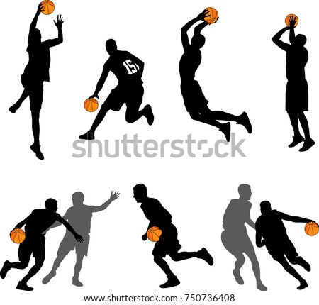 basketball players silhouettes collection - vector