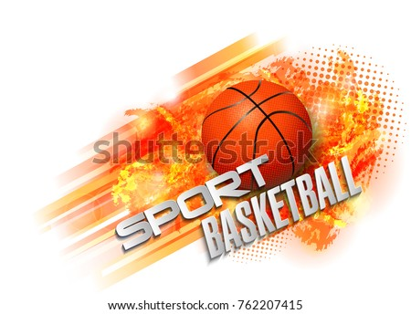 basketball Points, lines, triangles, text, color effects and abstract background vector illustration, sports #762207415