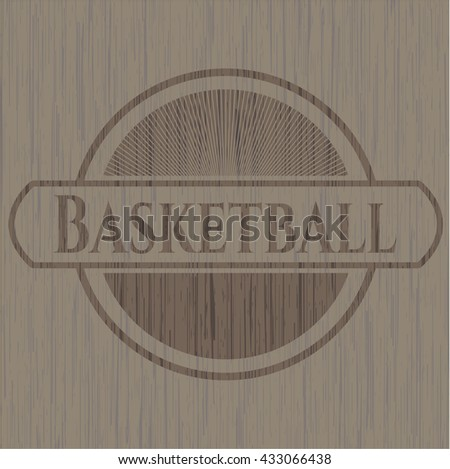 Basketball realistic wooden emblem