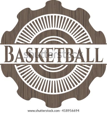 Basketball retro wood emblem