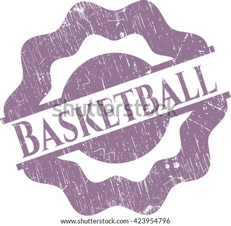 Basketball rubber stamp with grunge texture