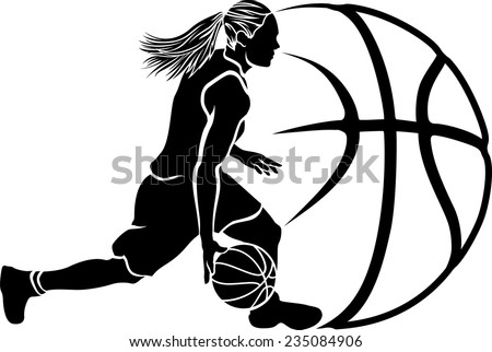 basketball silhouette of a female basketball player dribbling with stylized ball