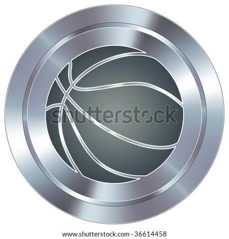 Basketball sport icon on round stainless steel modern industrial button