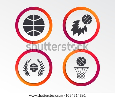 Basketball sport icons. Ball with basket and fireball signs. Laurel wreath symbol. Infographic design buttons. Circle templates. Vector