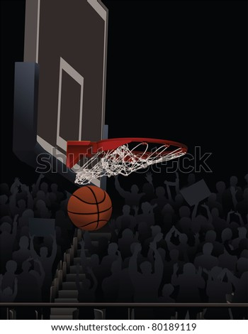 Basketball Swishing Through A Basketball Hoop With Fans in Background
