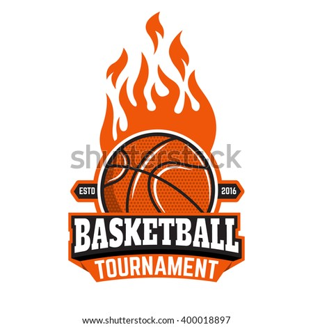 basketball tournament emblem template basketball ball burning ball design element in vector. Black Bedroom Furniture Sets. Home Design Ideas