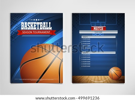 Basketball tournament, modern sports posters vector design.