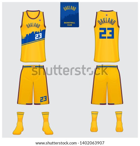 Basketball uniform mockup template design for basketball club. Tank top t-shirt mockup for yellow basketball jersey. Front view, back view and side view basketball shirt. Vector Illustration.