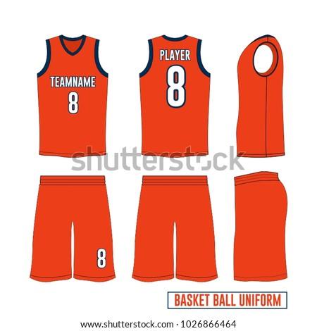 bec42bef2788 Basketball Uniform Vector Template orange blue
