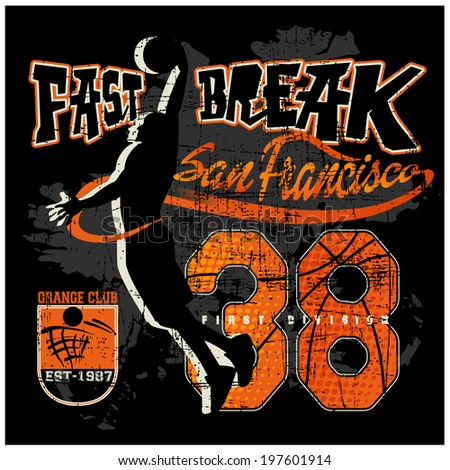 Basketball Varsity t-shirt Vintage vector artwork
