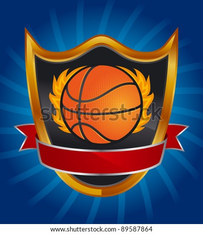 Basketball vector emblem Vector illustration emblem with basketball ball, black shield and red stripe
