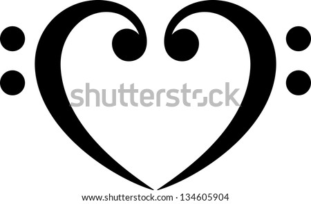 Bass clef, heart, music, classic - vector