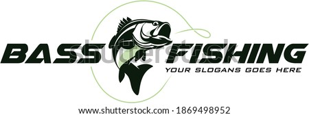 Bass Fishing Logo, Unique and Fresh Bass fish jumping out of the water, awesome to use in your bass fishing activity.
