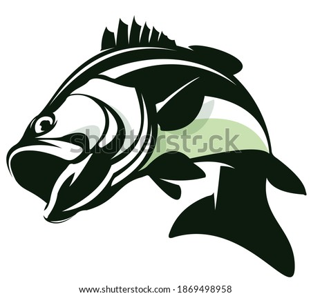 Bass Fishing Logo, Unique and Fresh Bass fish jumping out of the water, awesome to use in your bass fishing activity.  Foto d'archivio ©