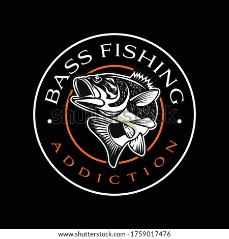 Bass Fishing Logo. Unique and Fresh Bass jumping out of the water. great for your bass fishing activity. Foto d'archivio ©