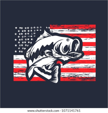 Bass fishing on usa flag vector illustration