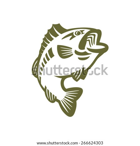 bass fishing vector outline logo