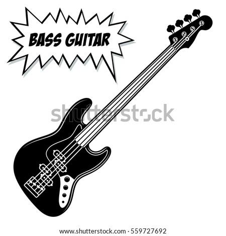 bass guitar 4 strings vector