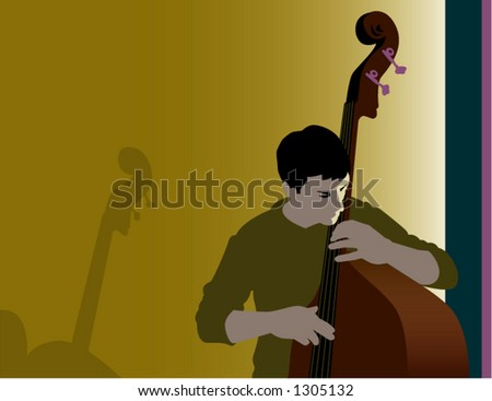 Bass Player in Subdued Light