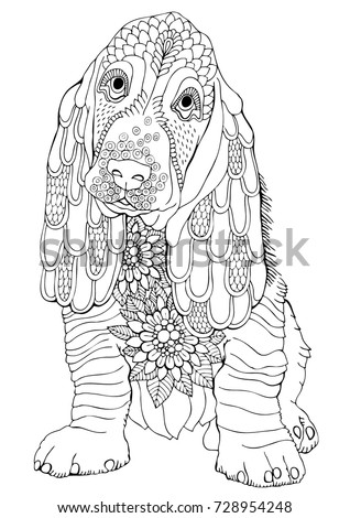 Basset. Hand drawn dog. Sketch for anti-stress adult coloring book in zen-tangle style. Vector illustration  for coloring page.