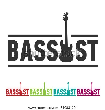 bassist sticker sign with bass