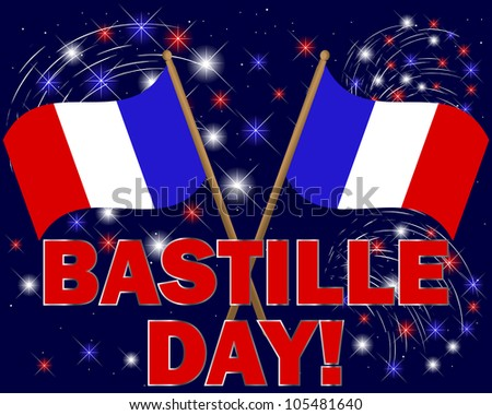 Bastille Day. Celebratory background with fireworks and flags. 10 EPS. Vector illustration.