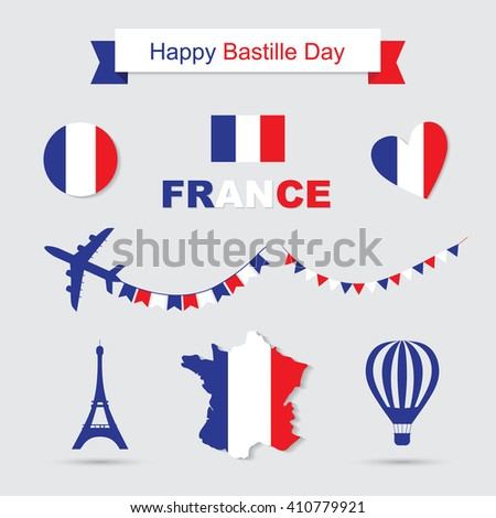 Bastille Day, Independence Day of France, symbols. French flag and map icons set. Eiffel Tower icon