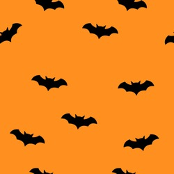 Bat halloween seamless patter with orange background. Bat silhouette