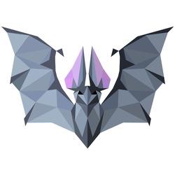 Bat. Low poly Bat . Low poly illustration Bat. Polygonal Bat .