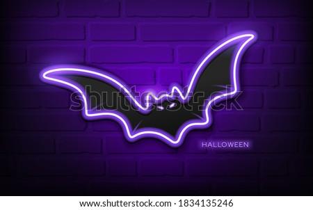 Bat neon light, colorful halloween concept design,on block wall black background, Eps 10 vector illustration
