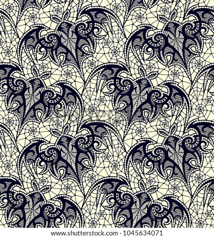 Bat. Seamless pattern. Black Lace  vector pattern.